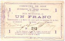 France 1 Franc Oisy City - 1915