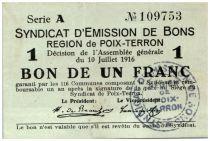 France 1 Franc Poix-Terron City - 1916
