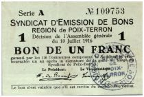 France 1 Franc Poix-Terron Commune - 1916