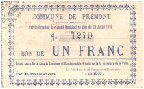 France 1 Franc Premont City - 1915