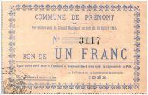 France 1 Franc Premont Commune - 1915