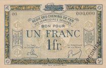 France 1 Franc Regie des chemins de Fer - 1923 - Specimen Serie OO