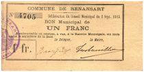 France 1 Franc Renansart Commune - 1915