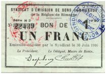 France 1 Franc Rimogne Commune - 1916