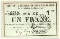 France 1 Franc Rimogne Commune - 1917