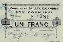 France 1 Franc Sailly-Lez-Cambrai - 1915
