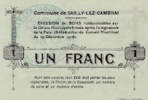 France 1 Franc Sailly-Lez-Cambrai - 1915