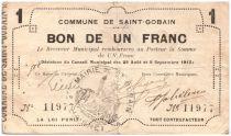 France 1 Franc Saint-Gobain Commune - 1915