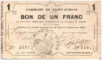 France 1 Franc Saint-Gobain Commune - 1915