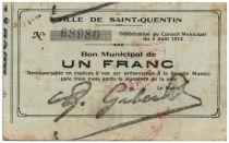 France 1 Franc Saint-Quentin Commune - 1915