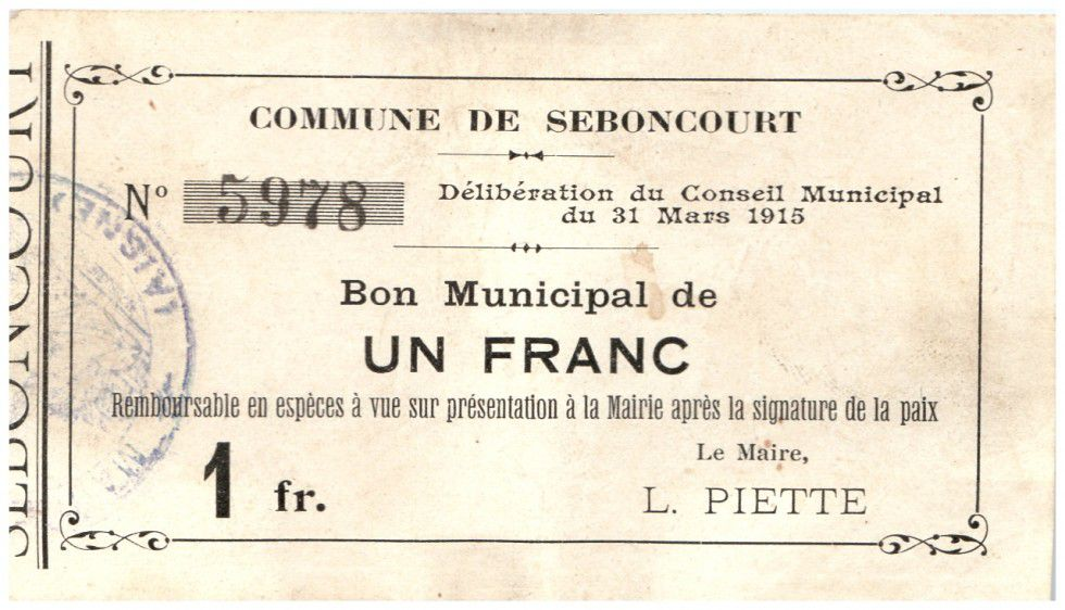 France 1 Franc Seboncourt City - 1915