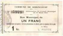 France 1 Franc Seboncourt Commune - 1915