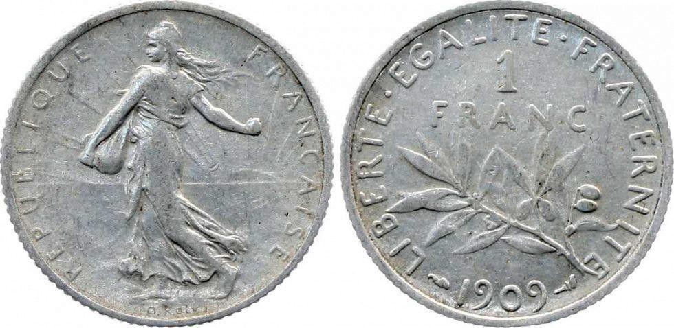 France 1 Franc Semeuse - 1909
