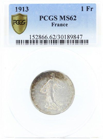 France 1 Franc Semeuse - 1913 - PCGS MS 62