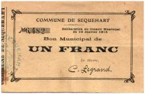 France 1 Franc Sequehart Commune - 1915