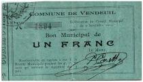 France 1 Franc Vendeuil City - 1914