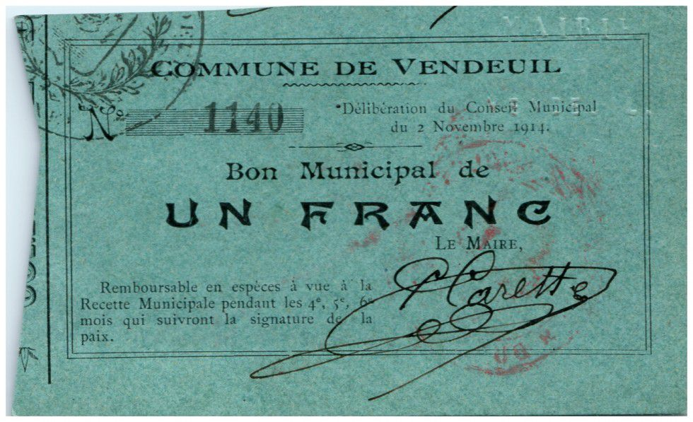 France 1 Franc Vendeuil Commune - 1914
