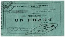 France 1 Franc Vendeuil Commune - 1914