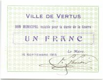 France 1 Franc Vertus City - 1915