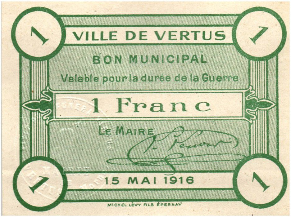 France 1 Franc Vertus City - 1916