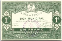 France 1 Franc Vertus City - 1917