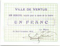 France 1 Franc Vertus Ville - 1915