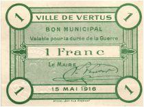 France 1 Franc Vertus Ville - 1916