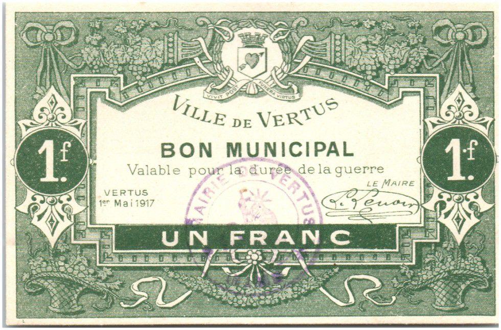 France 1 Franc Vertus Ville - 1917