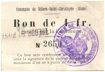 France 1 Franc Villers-Saint-Christophe Commune - 1915