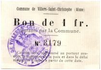 France 1 Franc Villers-Saint-Christophe Commune - 1915