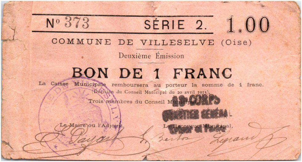 France 1 Franc Villeselve City - 1915