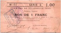France 1 Franc Villeselve City - 1915