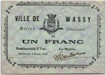 France 1 Franc Wassy City - 1917