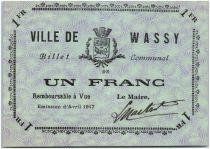 France 1 Franc Wassy City - 1917