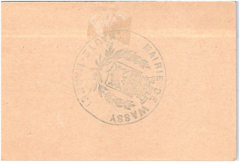 France 1 Franc Wassy Ville - 1916