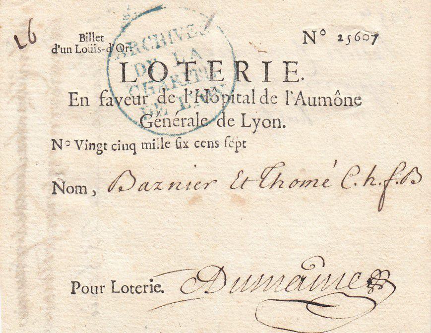 France 1 Louis d\'Or Loterie Hopital de l\'Aumône Générale de Lyon - 1704 - TTB