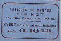 France 10 cent. Paris Articles de ménage E PINOT