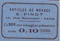 France 10 cent. Paris Articles de ménage E PINOT