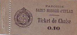 France 10 cent. Paris Ticket de chaise paroisse.