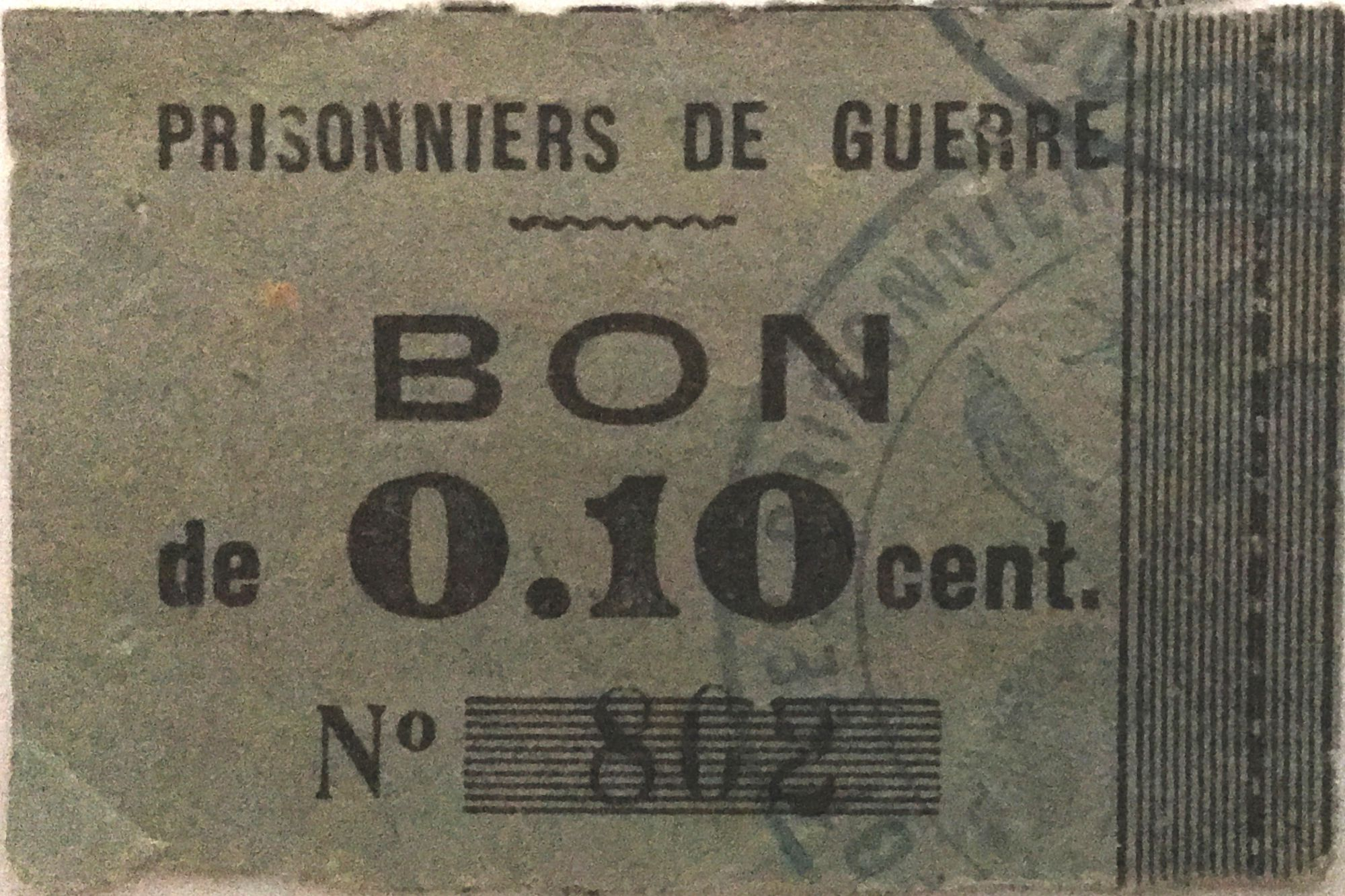 France 10 Centimes - WWI Prisoners Coupon - F