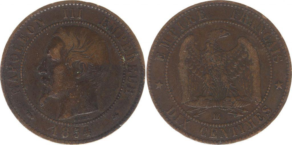 France 10 Centimes  Napoléon III Tête nue - 1854 BB Strasbourg