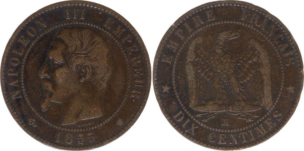 France 10 Centimes  Napoléon III Tête nue - 1855 MA Marseille