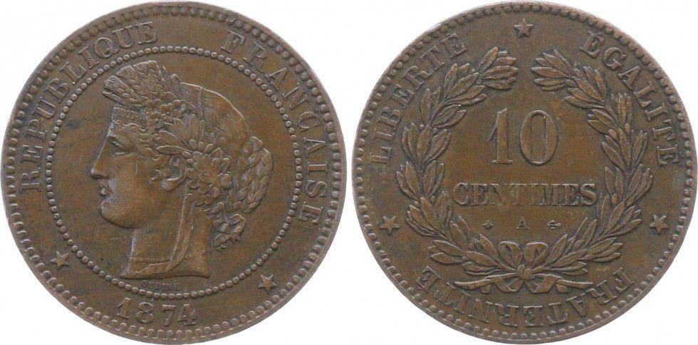 France 10 Centimes Cérès - Troisième République - 1874 A