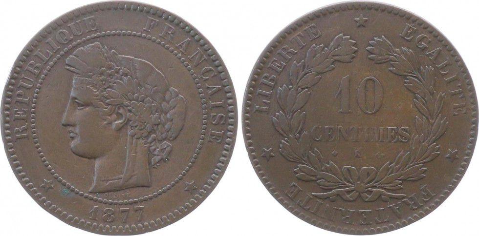 France 10 Centimes Cérès - Troisième République - 1877 K