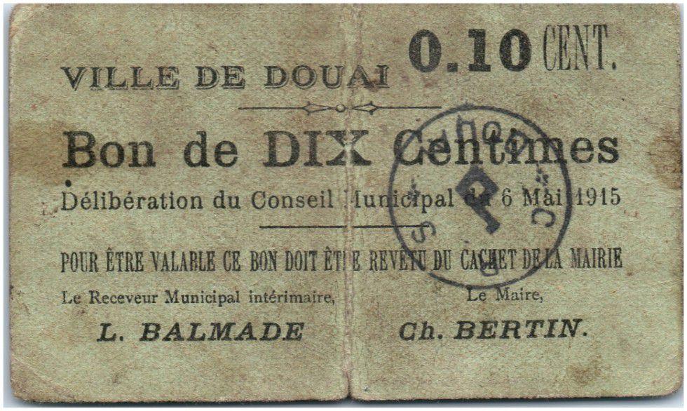 France 10 centimes Douai City - 1915