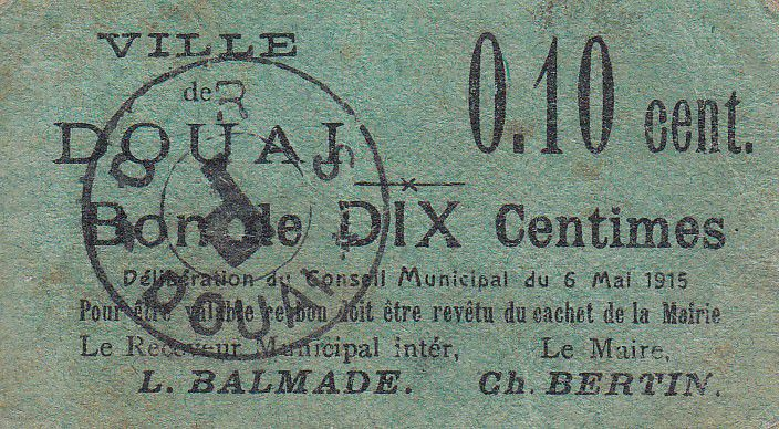 France 10 centimes Douai City - 1915