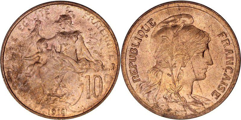 France 10 Centimes Liberty head - 1916