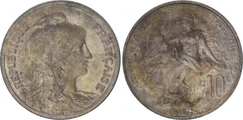 France 10 Centimes Liberty head - 1916