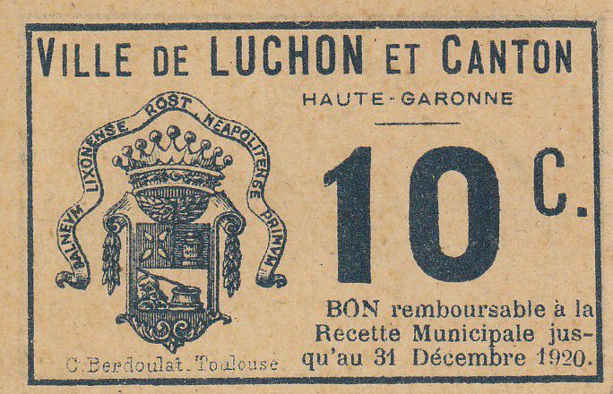 France 10 centimes Luchon City