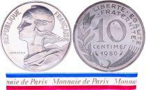France 10 Centimes Marianne Piéfort 1980 - sous sachet Monnaie de Paris - Argent